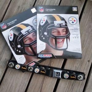 Pittsburgh Steelers Bottle Cap Belt & TWO FANHEADS